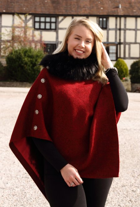 Harris Tweed Claret & Faux Fur Cape
