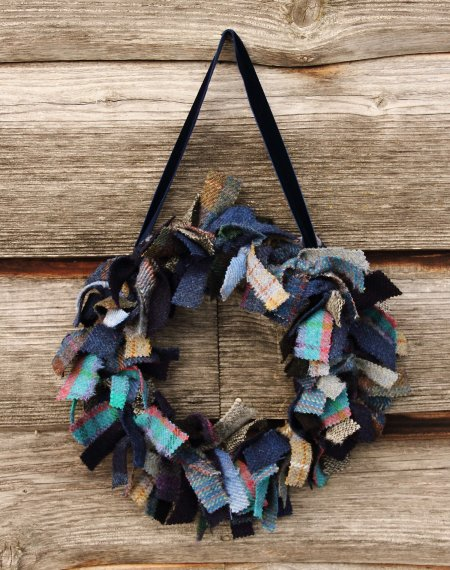 Small Harris Tweed Rag Wreath