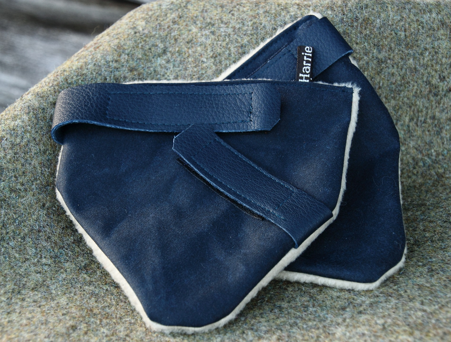 Navy Wax & Leather Riding Hat Ear Muffs